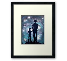 Father Son Space Travel Framed Print