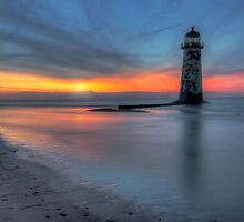 Sunset At The Lighthouse V3 by Ian Mitchell