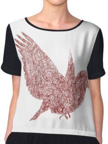 Scribble Bird Chiffon Top
