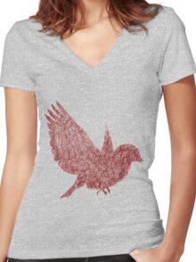 Scribble Bird Women's Fitted V-Neck T-Shirt