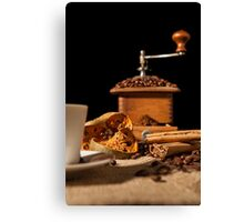 Close-up on dried orange fruit and cinnamon and coffee beans Canvas Print