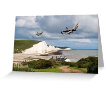 Nine Sisters - Lancasters over the south coast Greeting Card
