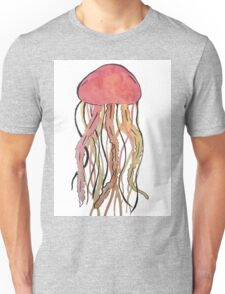 Red Water Color Jelly Fish Unisex T-Shirt