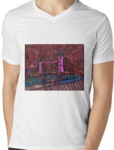London Bridge at Night Mens V-Neck T-Shirt
