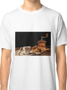 Coffee cup, dried orange fruit, cinnamon sticks and coffee grinder Classic T-Shirt