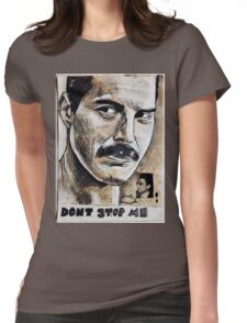 QUEEN - FREDDIE MERCURY - PAINTING COLLAGE Womens Fitted T-Shirt