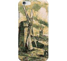 A digital painting of  Grist Wind mills at East Hampton, Suffolk County, New York 1872 iPhone Case/Skin