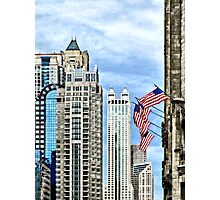 Chicago - Flags Along Michigan Avenue Photographic Print