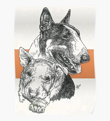 Bull Terrier Father & Son Poster
