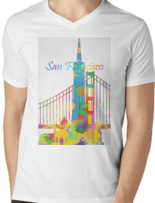 Abstract watercolor San Francisco Mens V-Neck T-Shirt