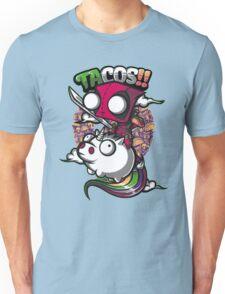 "Deadpool ""Tacos!!"" Riding a Unicorne Unisex T-Shirt"