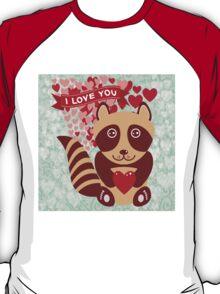cartoon raccoon. I love You.  T-Shirt