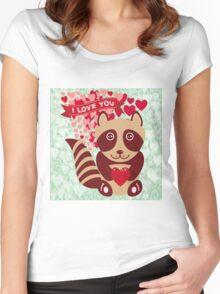 cartoon raccoon. I love You.  Women's Fitted Scoop T-Shirt