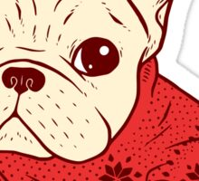 Cream Frenchie in Christmas Sweater Sticker