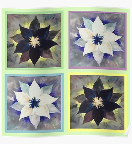 Black and White Flower Quilt on Light Green Poster