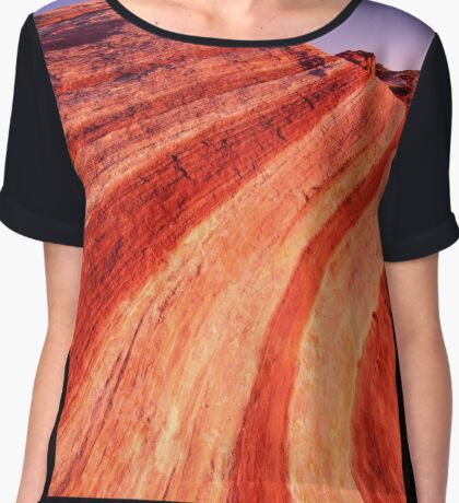 Fire Wave Sunset - Valley Of Fire - Nevada Chiffon Top