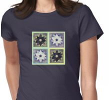 Black and White Flower Quilt Womens Fitted T-Shirt