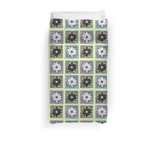 Black and White Flower Quilt on Light Green Duvet Cover