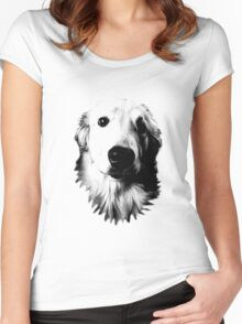 Who Me? Funny Dog Expressions. Golden Retriever Images. Women's Fitted Scoop T-Shirt