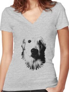 Who Me? Funny Dog Expressions. Golden Retriever Images. Women's Fitted V-Neck T-Shirt