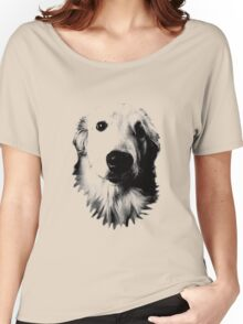 Who Me? Funny Dog Expressions. Golden Retriever Images. Women's Relaxed Fit T-Shirt