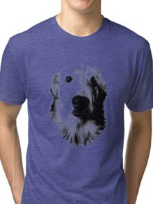 Who Me? Funny Dog Expressions. Golden Retriever Images. Tri-blend T-Shirt