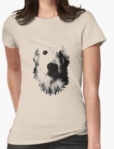 Who Me? Funny Dog Expressions. Golden Retriever Images. Womens Fitted T-Shirt