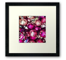 Pink, Purple, and Gold Christmas Ornaments Framed Print