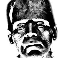 Frankenstein's Monster. Spooky Halloween Digital Engraving Image by digitaleclectic