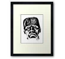Frankenstein's Monster. Spooky Halloween Digital Engraving Image Framed Print