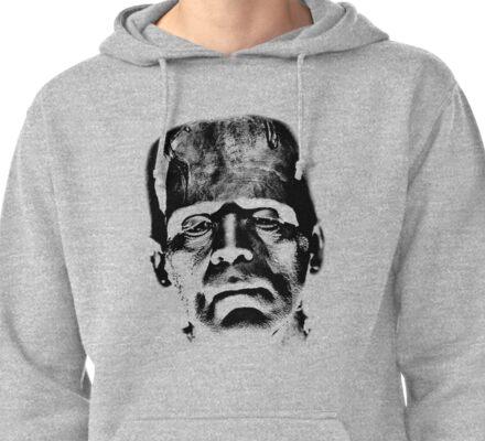 Frankenstein's Monster. Spooky Halloween Digital Engraving Image Pullover Hoodie