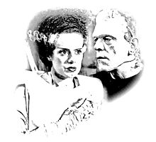 Frankenstein's Monster and Bride of Frankenstein. Spooky Halloween Digital Engraving Image by digitaleclectic