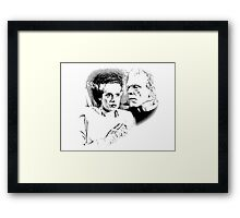 Frankenstein's Monster and Bride of Frankenstein. Spooky Halloween Digital Engraving Image Framed Print