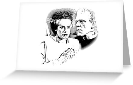 Frankenstein's Monster and Bride of Frankenstein. Spooky Halloween Digital Engraving Image by digitaleclectic