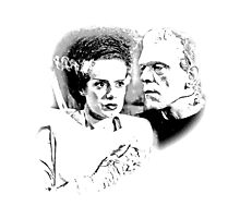 Frankenstein's Monster and Bride of Frankenstein. Spooky Halloween Digital Engraving Image Photographic Print