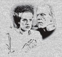 Frankenstein's Monster and Bride of Frankenstein. Spooky Halloween Digital Engraving Image Kids Tee