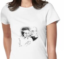 Frankenstein's Monster and Bride of Frankenstein. Spooky Halloween Digital Engraving Image Womens Fitted T-Shirt