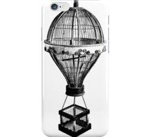 Hot Air Balloon Antique Vintage Birdcage. Antique Digital Engraving Vintage Image. iPhone Case/Skin