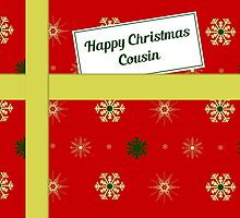 Cousin red Christmas parcel card by julesdesigns
