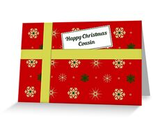 Cousin red Christmas parcel card Greeting Card