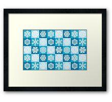 Checkered Snowflakes Framed Print