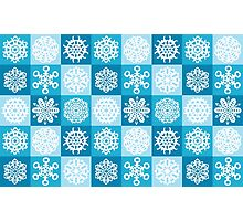 Checkered Snowflakes Photographic Print