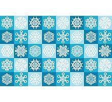 Checkered Snowflakes Photographic Print