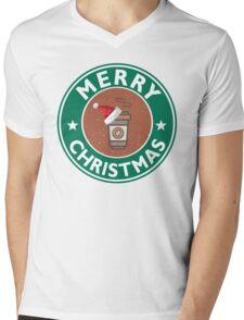 Festive Coffee Logo Mens V-Neck T-Shirt