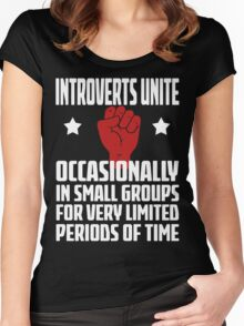 Introverts Unite - Occasionally In Small Groups For Very Limited Periods Of Time - Funny Social Anxiety T Shirt Women's Fitted Scoop T-Shirt