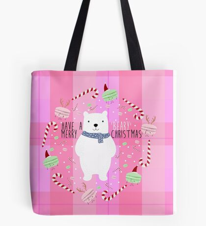 Polar Bear and Macarons Christmas Tote Bag