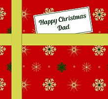 Dad red Christmas parcel card by julesdesigns