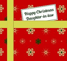 Daughter-in-law red Christmas parcel card by julesdesigns