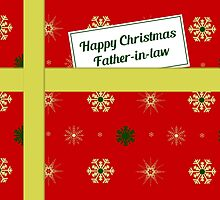 Father-in-law red Christmas parcel card by julesdesigns
