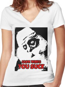 SANTA THINKS YOU SUCK Women's Fitted V-Neck T-Shirt